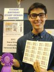 2015 Grand Winner Joshua Baca with his design on postage stamps.