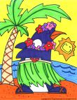Young Rembrandts Cartoon Drawing for Kids: Penguin in a hula skirt
