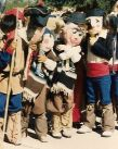 Pictured here are some of Santa Cruz County school children in masks when performing The How Far Felipe Pageant in 1982 during a 23-year  run during Tubac's Anza Days. The Montessori de Santa Cruz students are revitalizing the pageant about a young boy, his donkey and his journey as part of the 1775 Anza Expedition to found and settle San Francisco / Tubac Historical Society