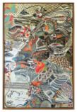 """Amy Beth Novelli's JAZZ HARP, 75"""" x 50"""" encaustic collage on wood in the airport's Upper Link Gallery / TAA"""